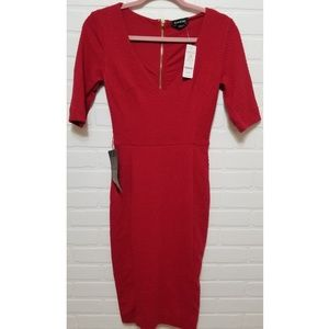 Red Bebe dress in size XS with gold zipper details
